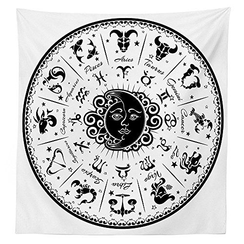 Zodiac Decor Tablecloth Minimalist Rounded Symbols Mystical Outer