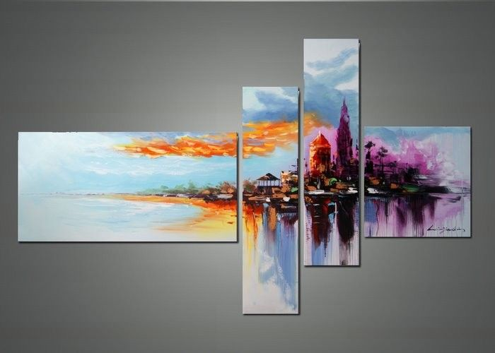 Modern cityscape wall art cityscape abstract art and for Contemporary oil paintings