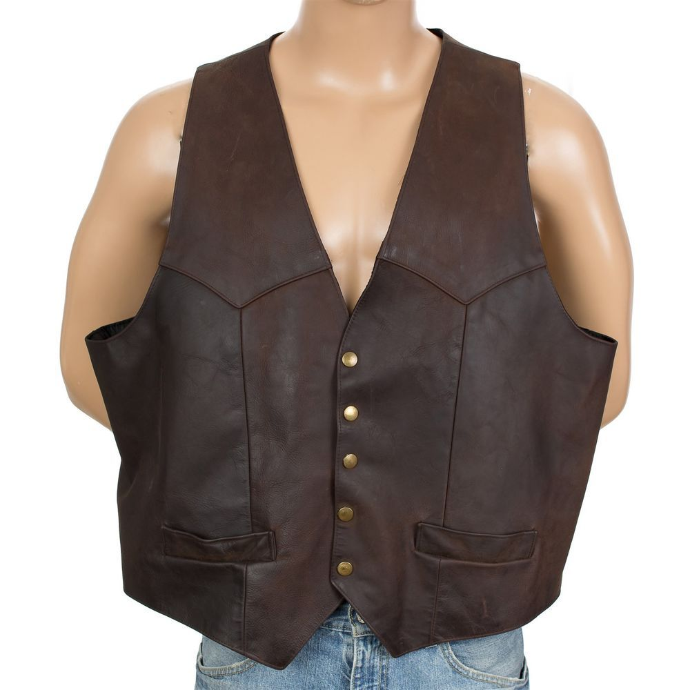 Larry Mahan Leather Vest Oiled Biker Western Cowboy Motorcycle Mens Big Size 52 Outerwear Fashion Leather Vest Fashion [ 1000 x 1000 Pixel ]