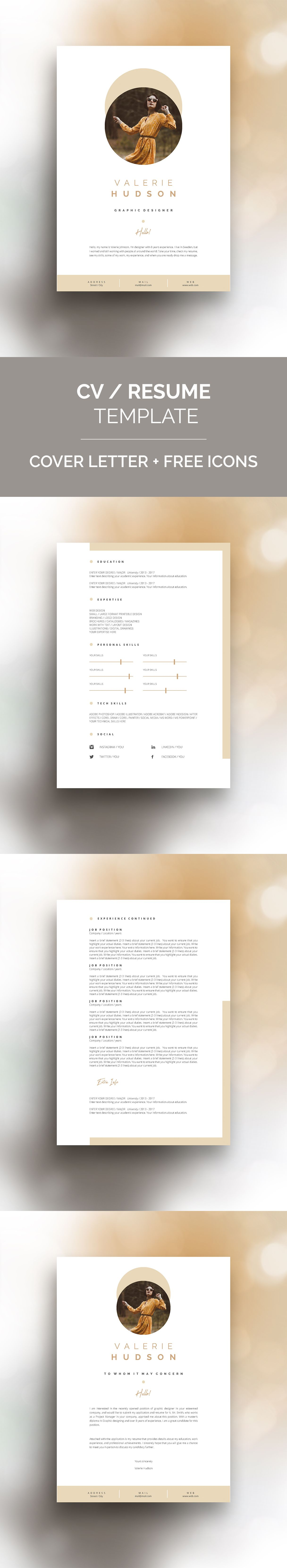 Cv Resume Template For Ms Word Minimal Graphic Design Resume Template Resume Design Template