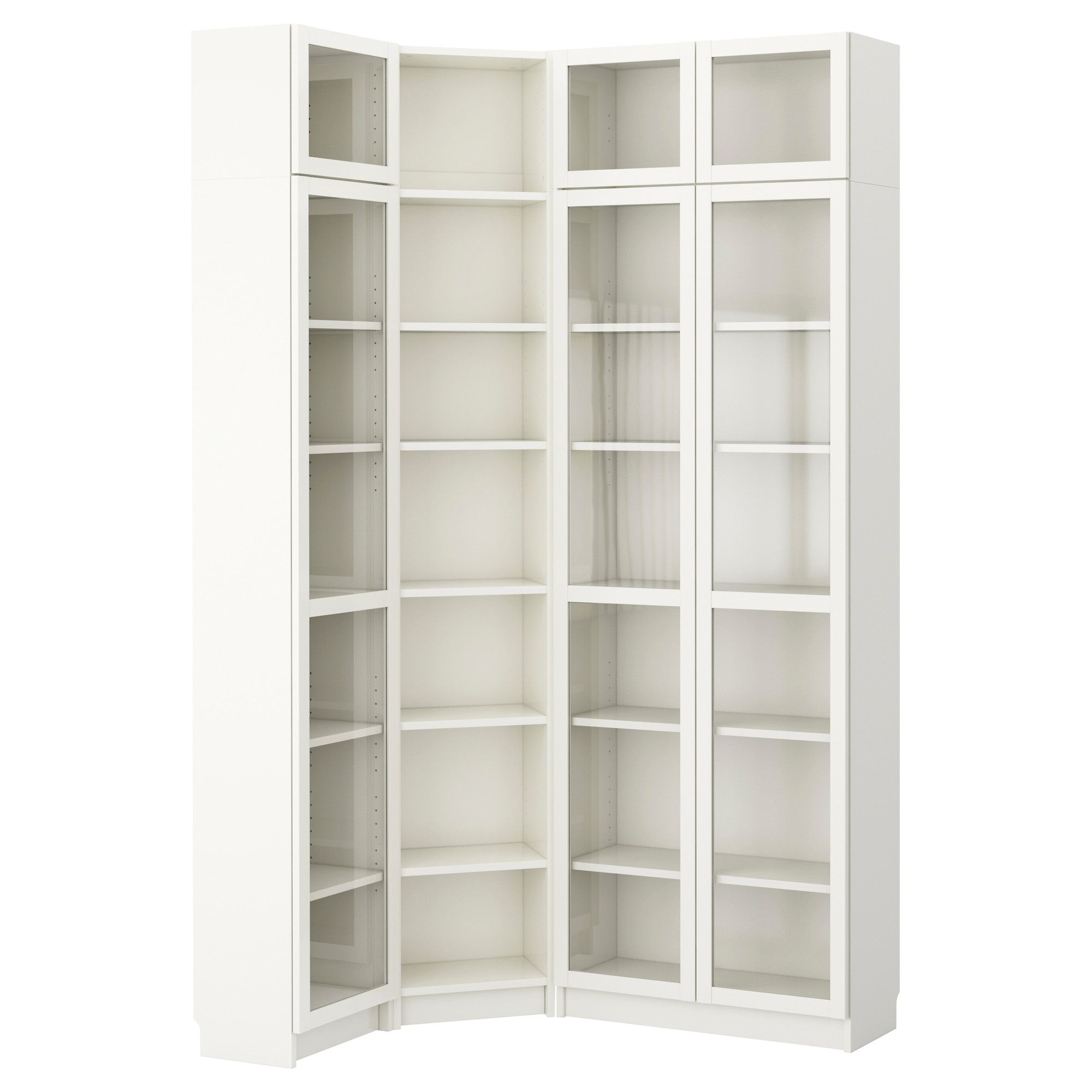 Billy combi biblioth que solution angle blanc ikea for Meuble bibliotheque ikea