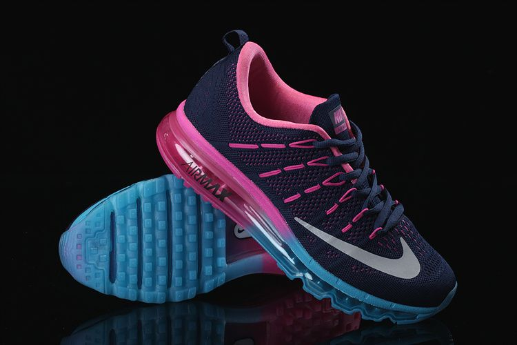 the best attitude a949e 1a876 Nike Air Max 2016 Flyknit Womens Black Pink Blue Running Shoe-www .