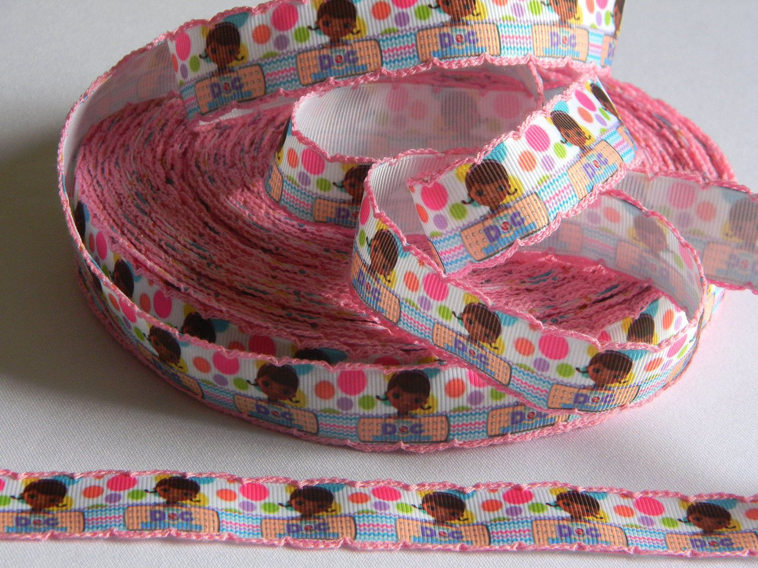 """Doc McStuffins Grosgrain Ribbon 5 yards of 1"""" Disney Print White Ribbon with Scallop Edge for Girls Hair Bows Multi Colored Jumbo Polka Dots by HouseofHairDecor on Etsy"""