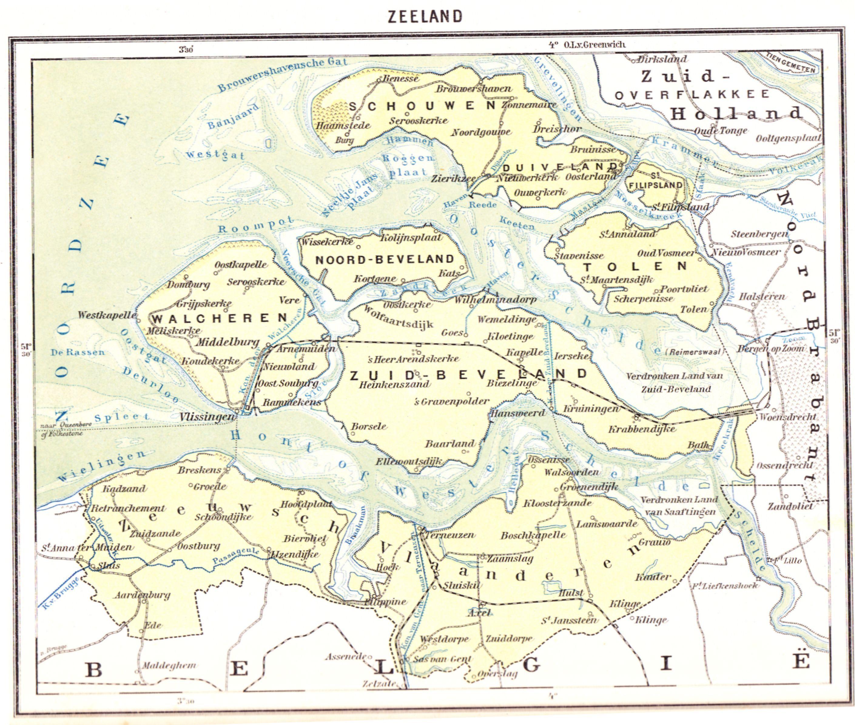 1919 Kleine Bosatlas WoltersGroningen Zeeland in kaarten Zeeland