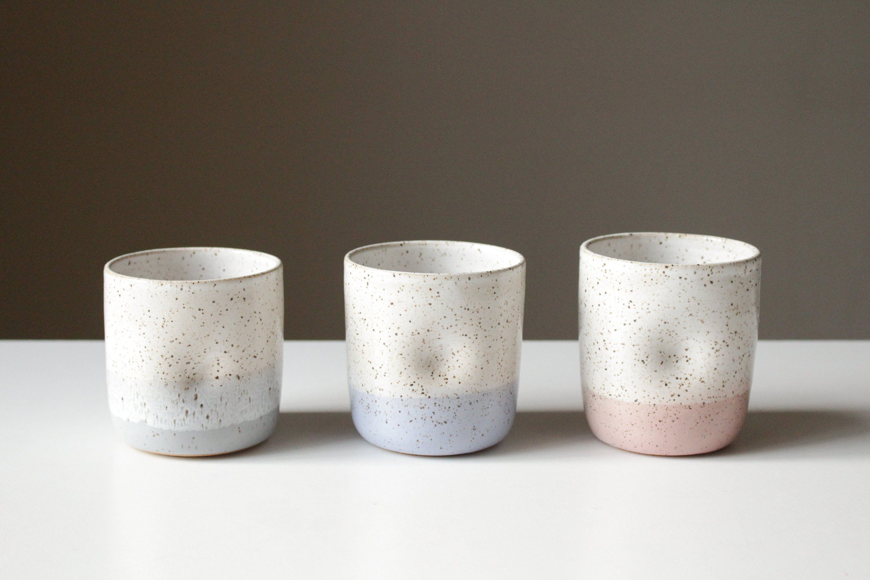 Cord X Clay Speckled Ceramic Cup With Thumb Hold Clay Pottery Dimpled Tumbler Water Glass Mug White Pink Blue Ceramic Tumbler Ceramic Cups Clay Pottery
