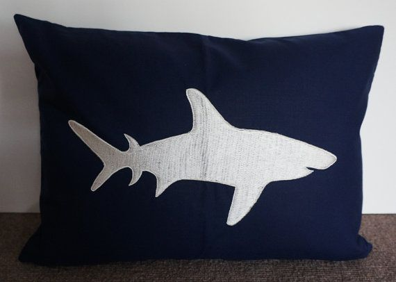 Embroidered Decorative Pillow Cover Shark 40 X 40 Navy Blue Cool Shark Decorative Pillow