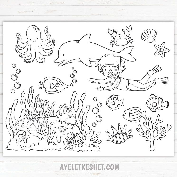 Under The Sea Coloring Pages Free Printables Ayelet Keshet In 2020 Ocean Coloring Pages Free Coloring Pages Abstract Coloring Pages