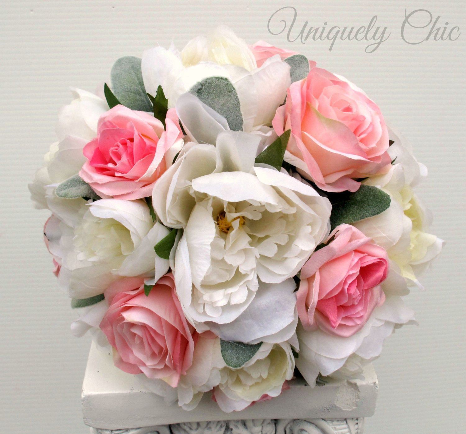 Wedding bouquet, Rustic bouquet, Peony bouquet, Pink and white ...