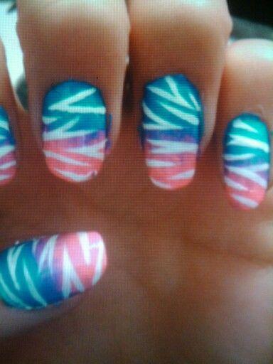 Rainbow tiger nail art ! Cute