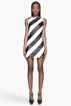 Alice Olivia Black And White Leather A Line Paige Dress Moda De Moda Pasarela