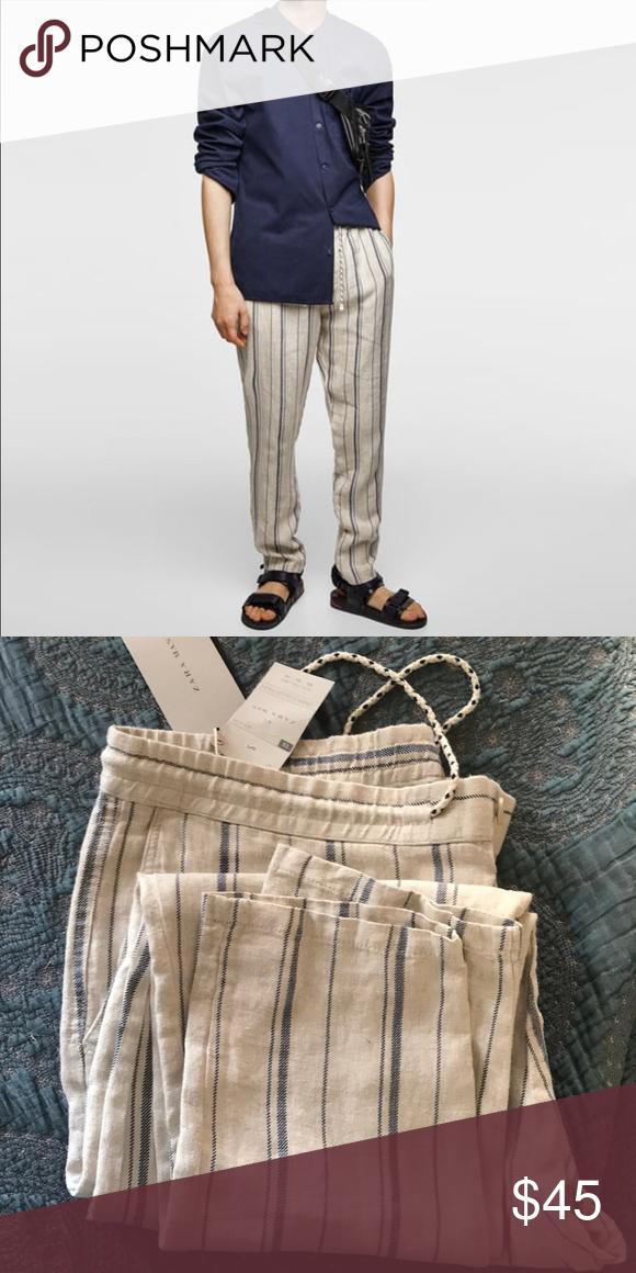 c38ef3e6 Zara men linen stripe pants Blue stripe linen pants from Zara Men. Size XL.  Tried on only. Still crisp from store. Zara Pants