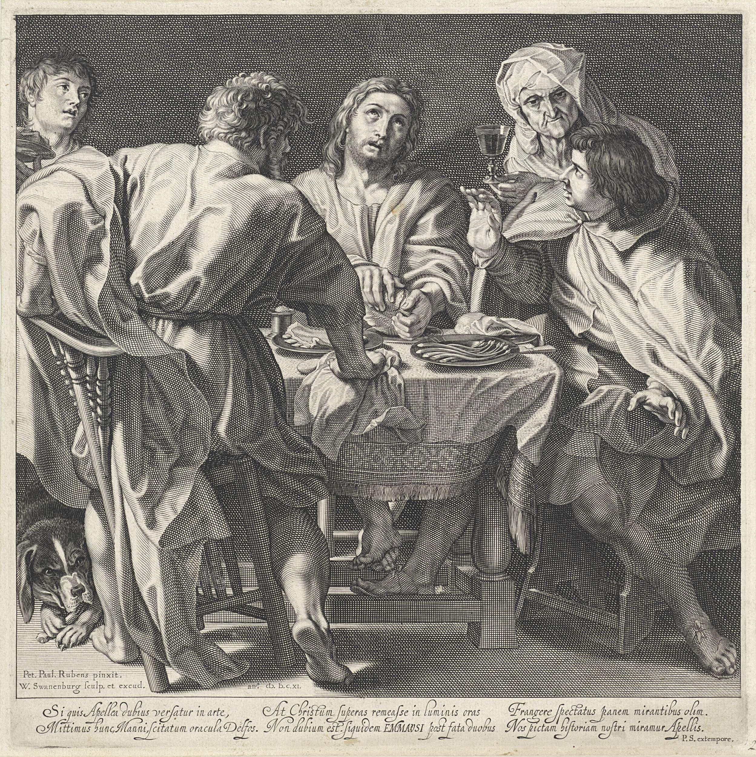 Willem Isaacsz. van Swanenburg   Maaltijd in Emmaüs, Willem Isaacsz. van Swanenburg, Petrus Scriverius, 1611   Christus zit met zijn leerlingen aan tafel. Hij zegent en breekt het brood, waardoor zijn leerlingen hem herkennen. Rechts geeft een vrouw een glas wijn aan en onder de tafel ligt een hond. Onder de voorstelling bevindt zich een zesregelige, Latijnse tekst met een beschrijving van de scène en een lofdicht op Rubens, waarin hij met Apelles wordt vergeleken.