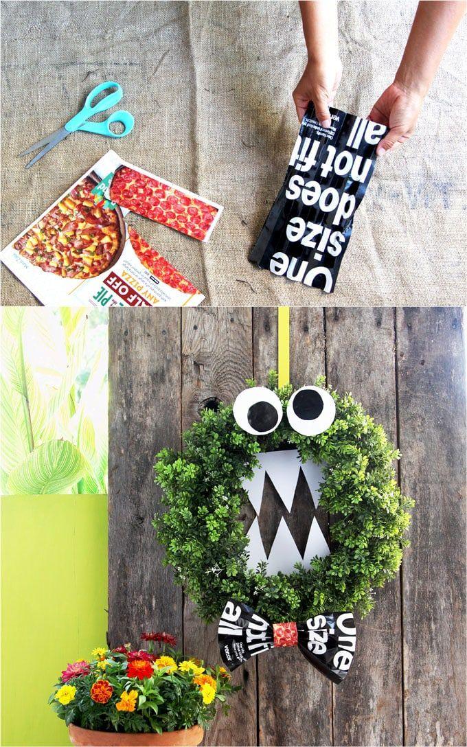 Easy DIY Monster Halloween Wreath {5 Minutes & Free