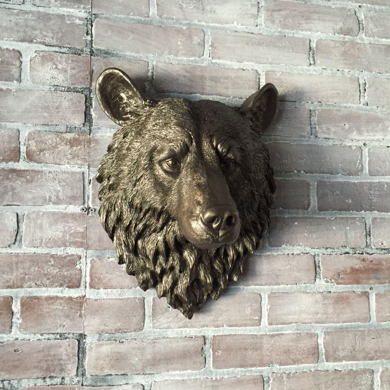 Any Color Faux Bear Head Wall Mount Faux Taxidermy Wall Decor