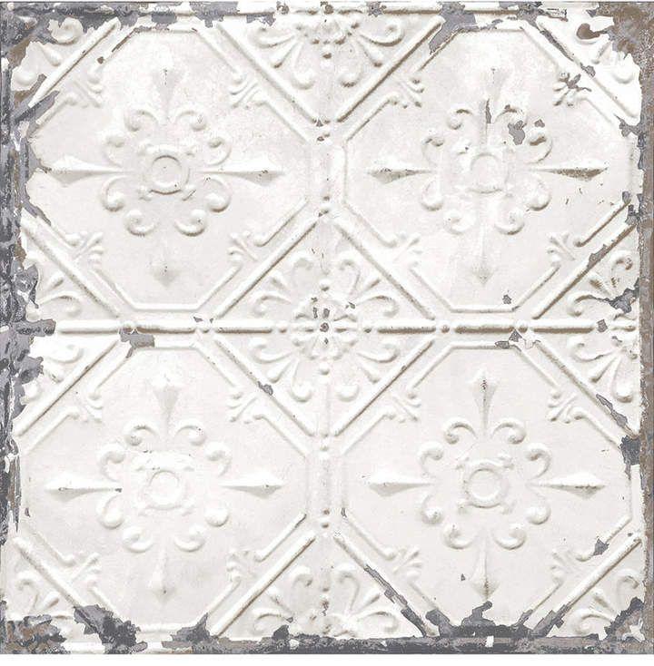 Brewster Home Fashions Vintage Tin Tile Peel And Stick Wallpaper Vintage Tin Tiles White Tin Ceiling Antique Tin Ceiling Tile