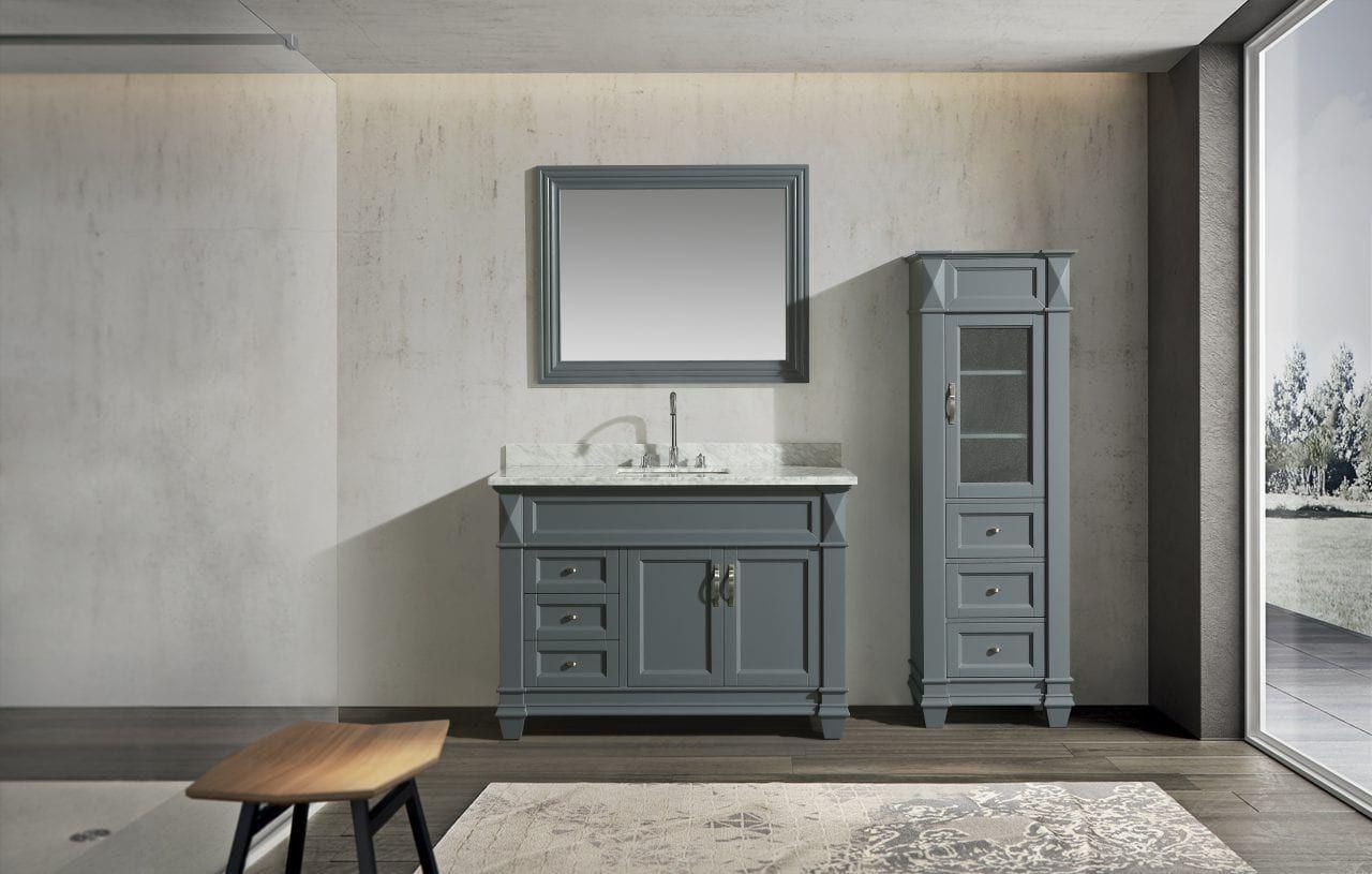 Hudson 48 Single Sink Vanity Set In Gray With Carrara Marble Top