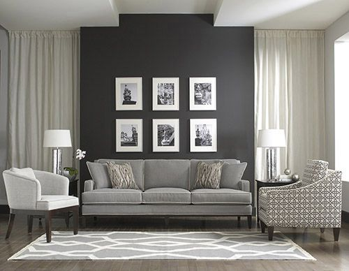 clasical furniture style living room accent wall ideas | Shades of Grey Accent Walls Grey Manteo Furniture ...