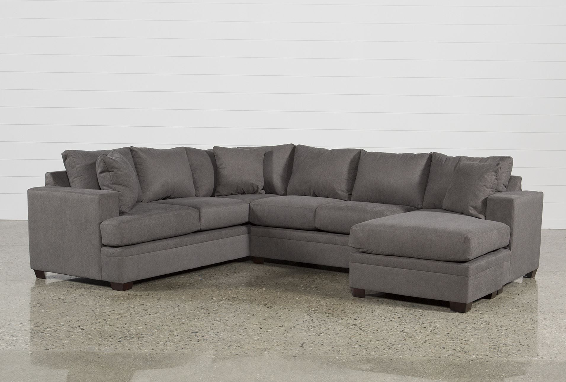 Kerri Charcoal 2 Piece Sectional With Right Arm Facing Chaise Grey Sectional Sofa Grey Sectional Couch Fabric Sectional Sofas