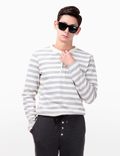 Wear a lasting pattern style with this button neck stripe shirt. To style this piece, wear a black washed ripped knee jeans, then finish with a pair of leather combat shoes. - Crew neck - Button neck closure - Long sleeves - Stripe pattern - Seamed hemline - Colors: Gray, Khaki, Black