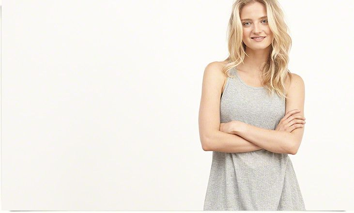 Womens Ribbed Swing Tank : Lightweight and supersoft with a drapey silhouette, dropped arm openings and scoop neckline, Easy Fit : Abercrombie.com