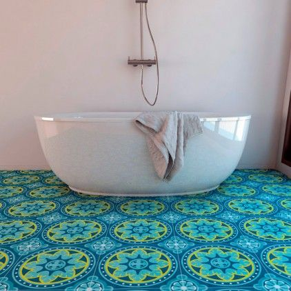 Antique Blue Vinyl Floor Tiles Bathroom Pinterest Downstairs
