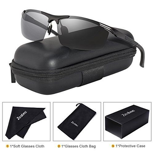 c8ca63a666 Buy Zealme Polarized Driving Military Anti Glare Semi Rimless Metal Frame HD  Vision Lens UV UVA UVB Cycling Fishing Running Bicycle Motorcycle Sports ...