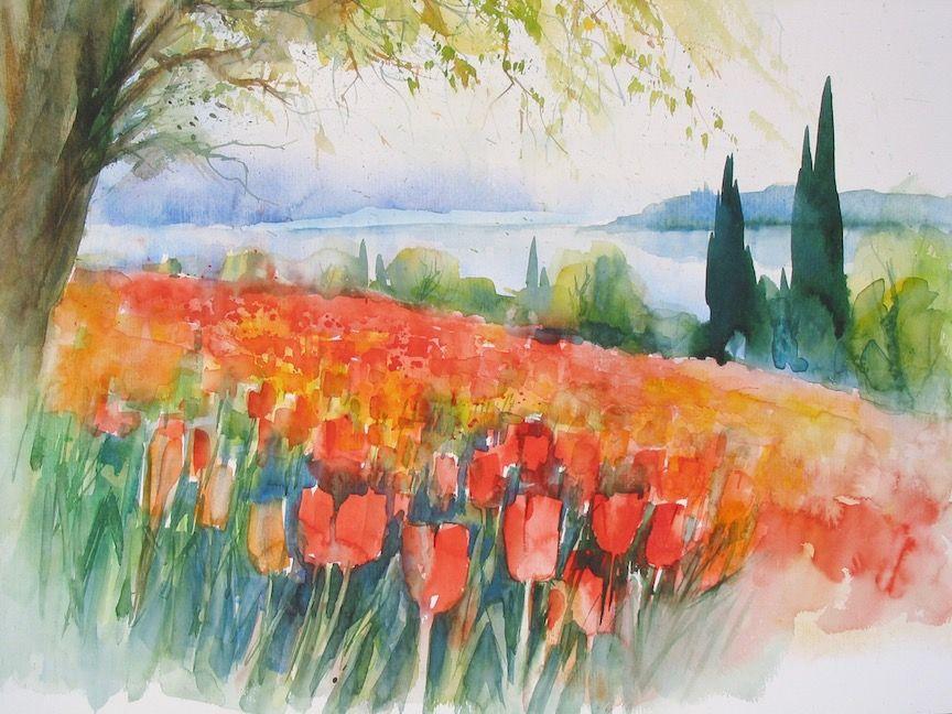 Aquarell Von Der Tulpenblute Auf Der Insel Mainau Bodensee Aquarell Aquarell Kunst Aquarell Ideen