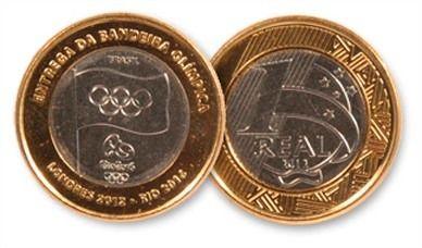 Moeda 1 Real Entrega Da Bandeira Olimpica Moedas