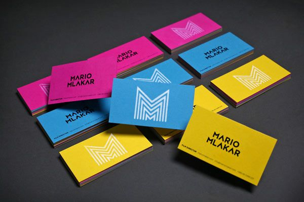 The corporate identity design of filmmaker mario mlakar stationery colored business cards with the repetitive letter m for filmmaker mario mlakar colourmoves