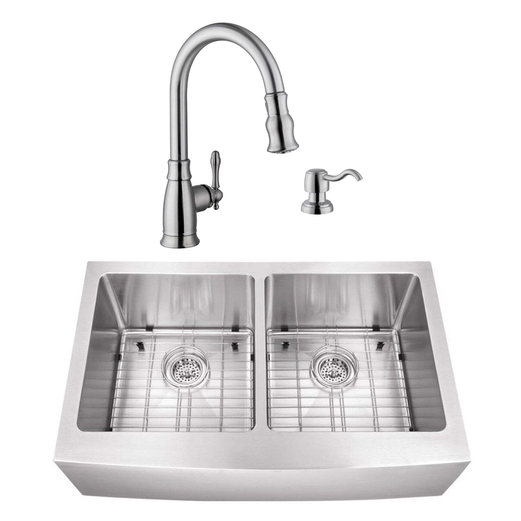 32 7 8 In 50 50 Apron Front Stainless Steel Silver Kitchen Sink Traditional Faucet Cahaba Stainless Steel Kitchen Sink