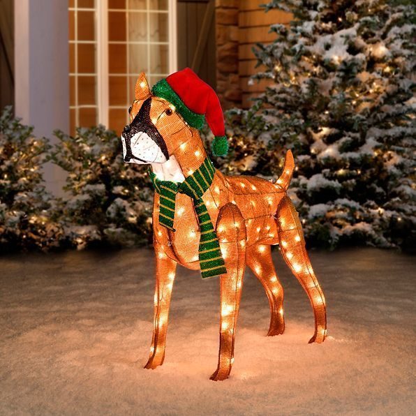 Holiday Christmas Lighted Indoor Outdoor Boxer Dog Prelit Santa Hat Yard Decor Unbranded