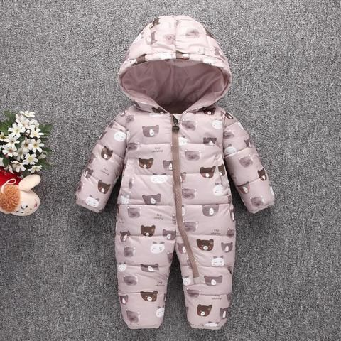 1b86ad1c6 Toddler Baby Down Cotton Cartoon Rompers Newborn Baby clothes snow suit  Winter Thick Warm Children Clothing
