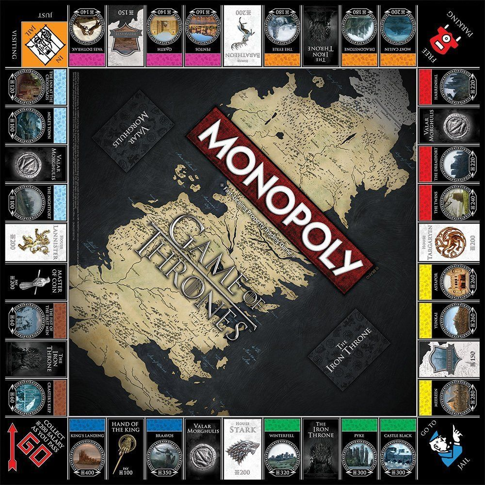 Game Of Thrones Monopoly Game Of Thrones Merchandise Game Of Thrones Fans Monopoly Game