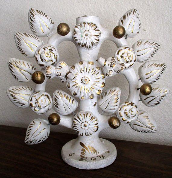 Vintage Mexico Ceramic Pottery Tree Of Life Candelabra White Etsy Ceramic Pottery Gold Candles Wedding Pottery