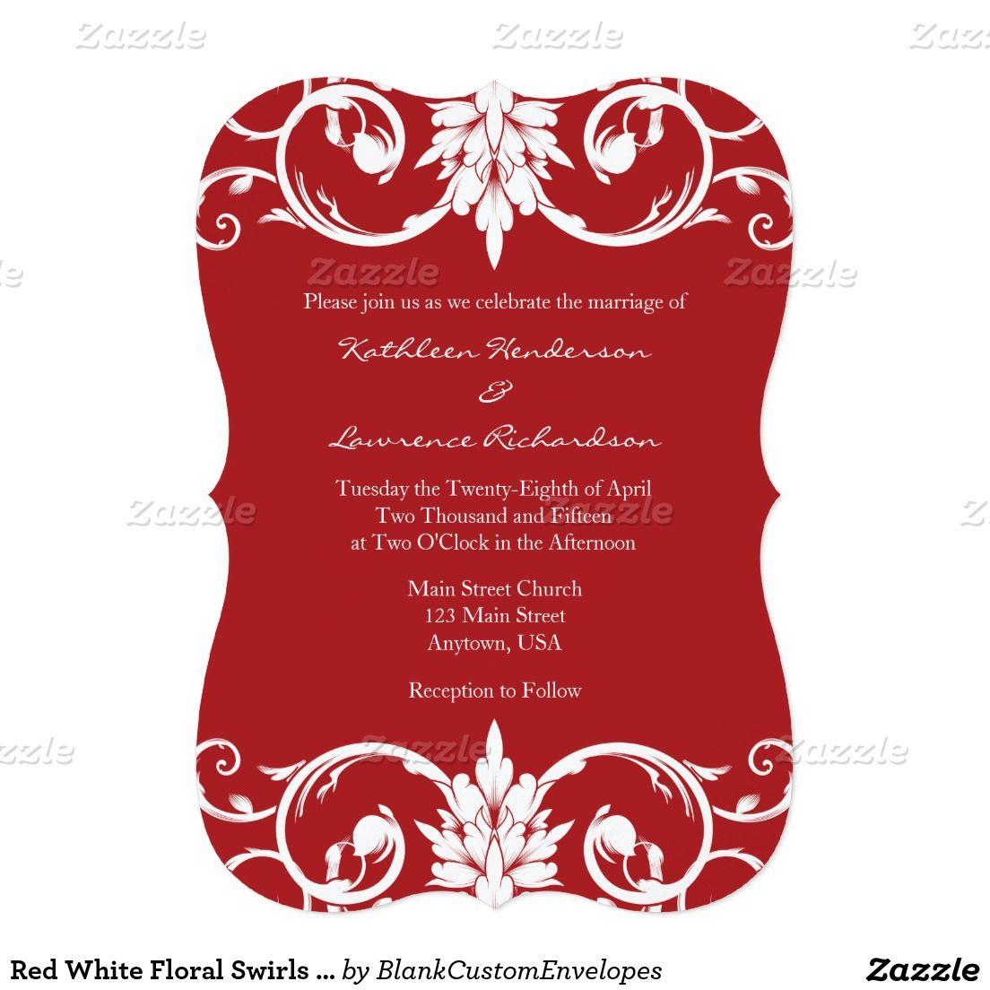 Red White Floral Swirls Bracket Wedding Invitation | Floral ...