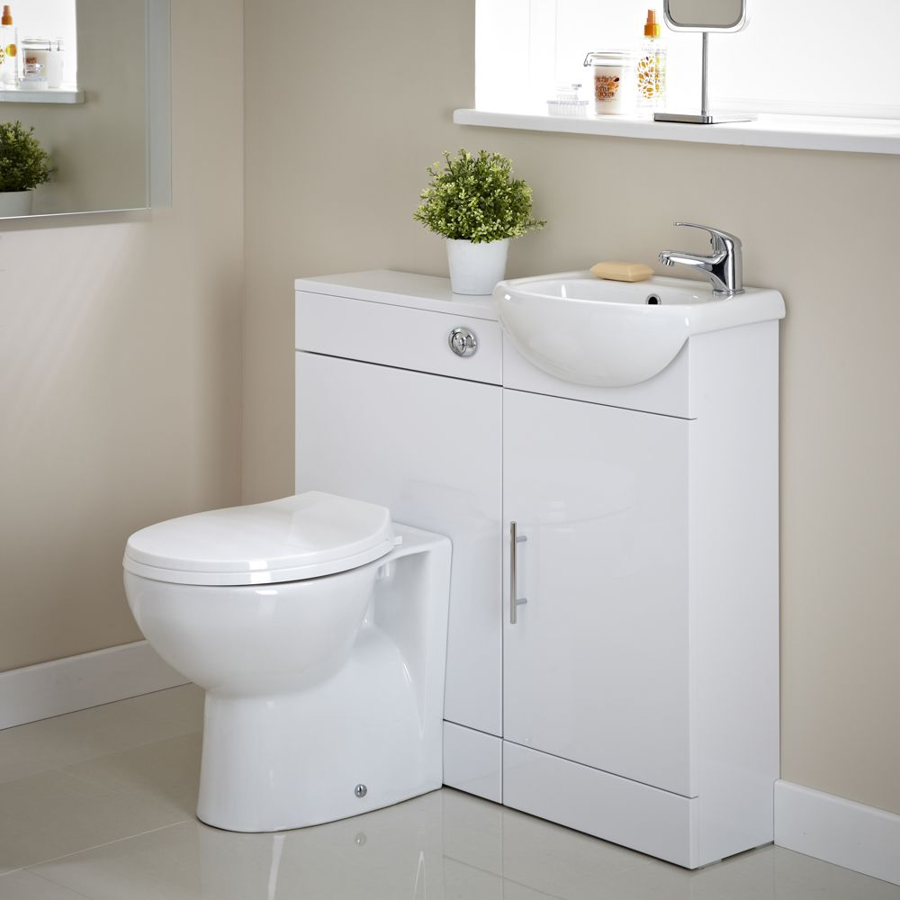 White Gloss Vanity Unit and Toilet Cloakroom Pack - Image 1 ...