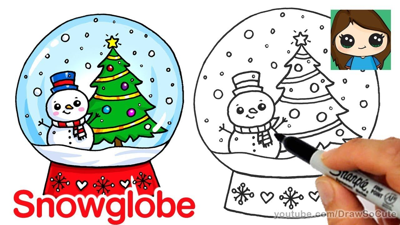 How To Draw A Christmas Snow Globe Cute And Easy Easy Christmas Drawings Xmas Drawing Christmas Pictures To Draw