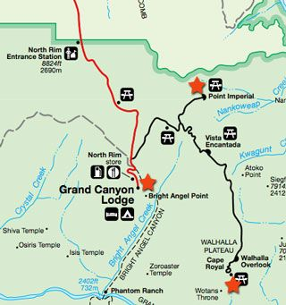 Map of 3 North Rim Overlooks in the Grand Canyon Utah Duck Creek