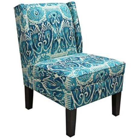 Alessandra Teal Wingback Accent Chair - #X5764 | LampsPlus.com