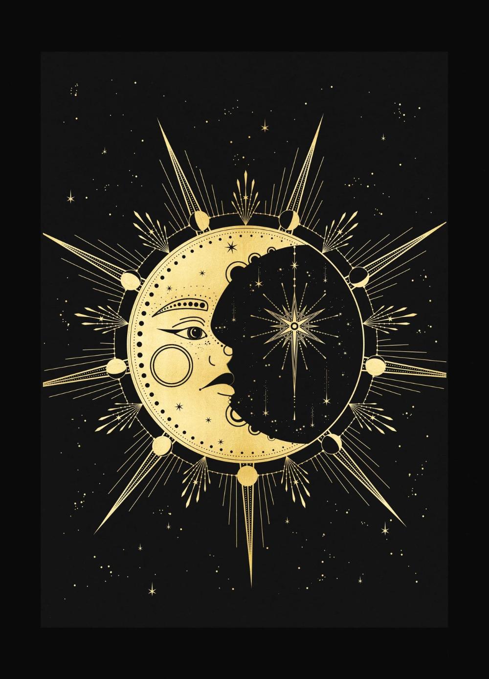 Crescent Moon Face Con Imagenes Sol Luna Y Estrellas Arte De Luna Simbolos Antiguos