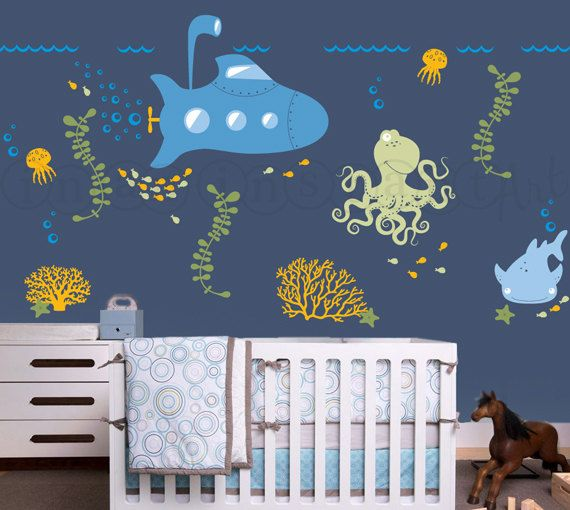 Submarine Wall Decal With Ocean Animals Under The Sea Nursery - Underwater wall decals
