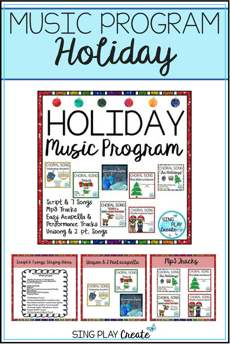 Holiday Music Program Songs, Script, Sheet Music, Mp3