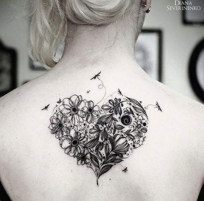Tatouage de femme tatouage coeur aquarelle sur dos tatoo tattoo and nice tattoos - Tatouage bas du dos dentelle ...