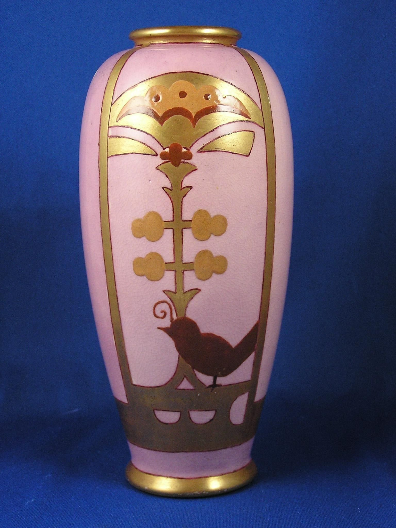 American satsuma arts crafts mauve gold bird design vase c american satsuma arts crafts mauve gold bird design vase c1910 reviewsmspy
