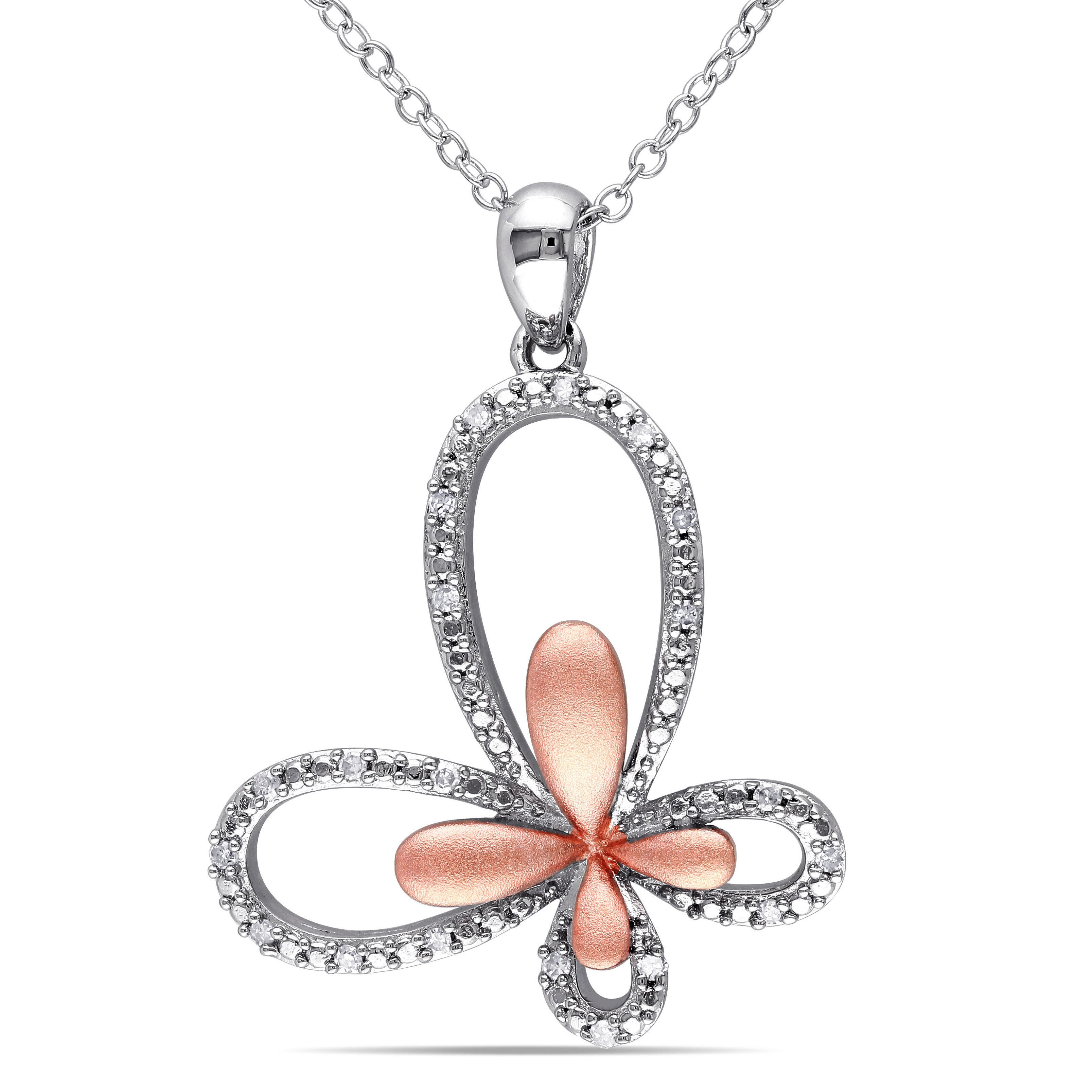 Miadora twotone sterling silver ct tdw diamond butterfly