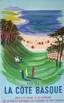 Côte Basque #jeanvier #cotebasque #vintage #affiche #poster >> http://www.jean-vier.com/fr/