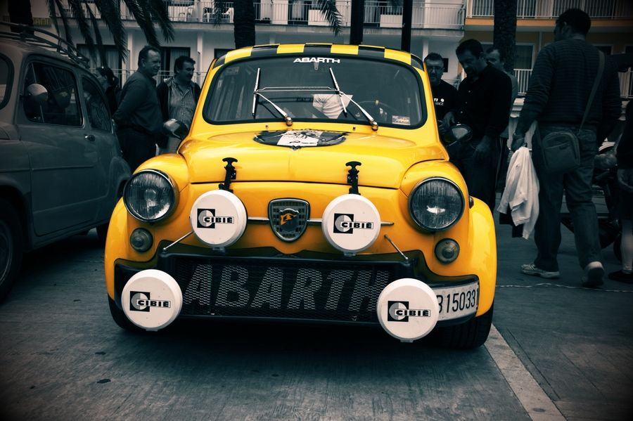 Fiat Abarth 500 In Yellow Classic Racecar Style Microcar