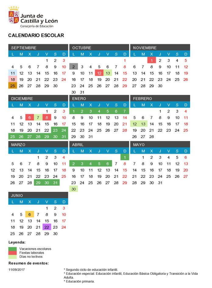 Calendario escolar Castilla y León 2017-2018 | Calendario escolar ...