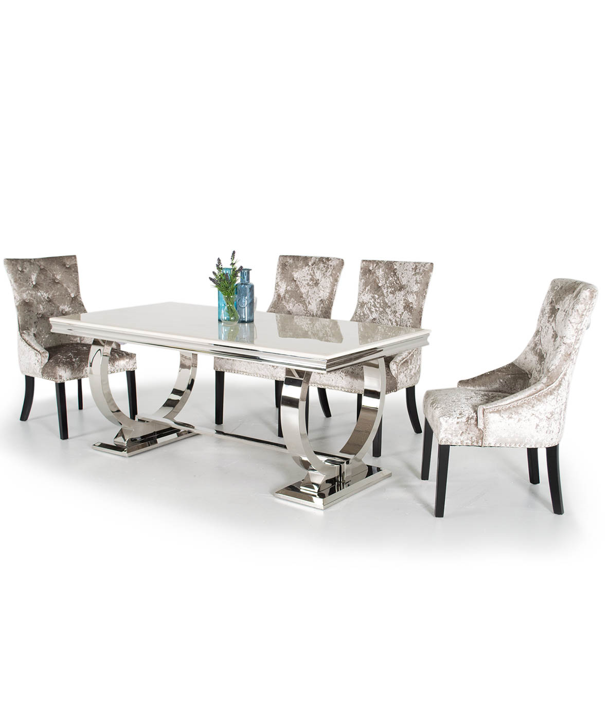 Venice Marble Dining Table With 6 Chairs Various Colours