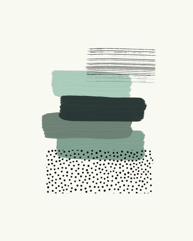 Modern green wall art, Abstract dark green paint brush strokes, Printable living room and bedroom wall art, Digital Download